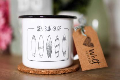 Emaille-Tasse-Surf-Meer-Abenteuer